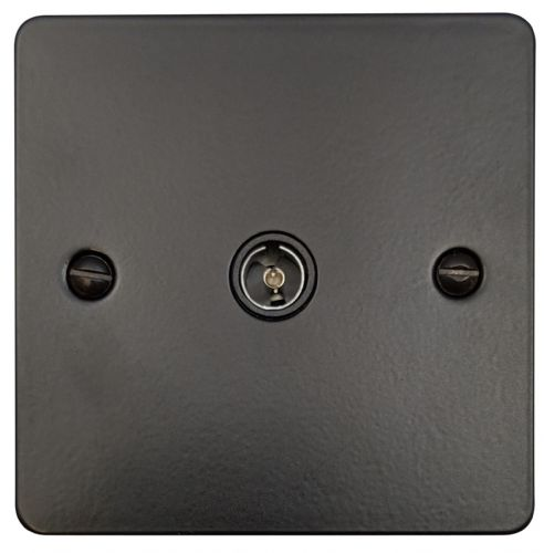 G&H FFB35B Flat Plate Matt Black 1 Gang TV Coax Socket Point